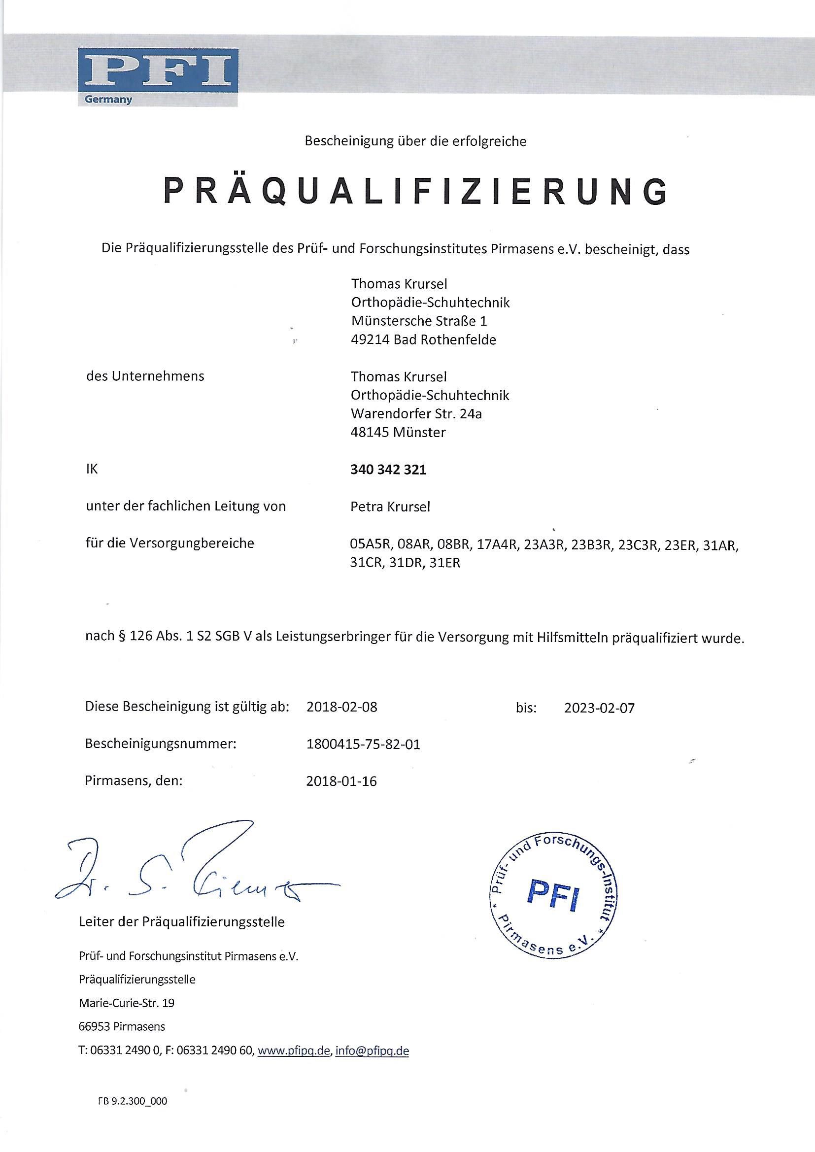 PFI Zertifikat Bad Rothenfelde 2020