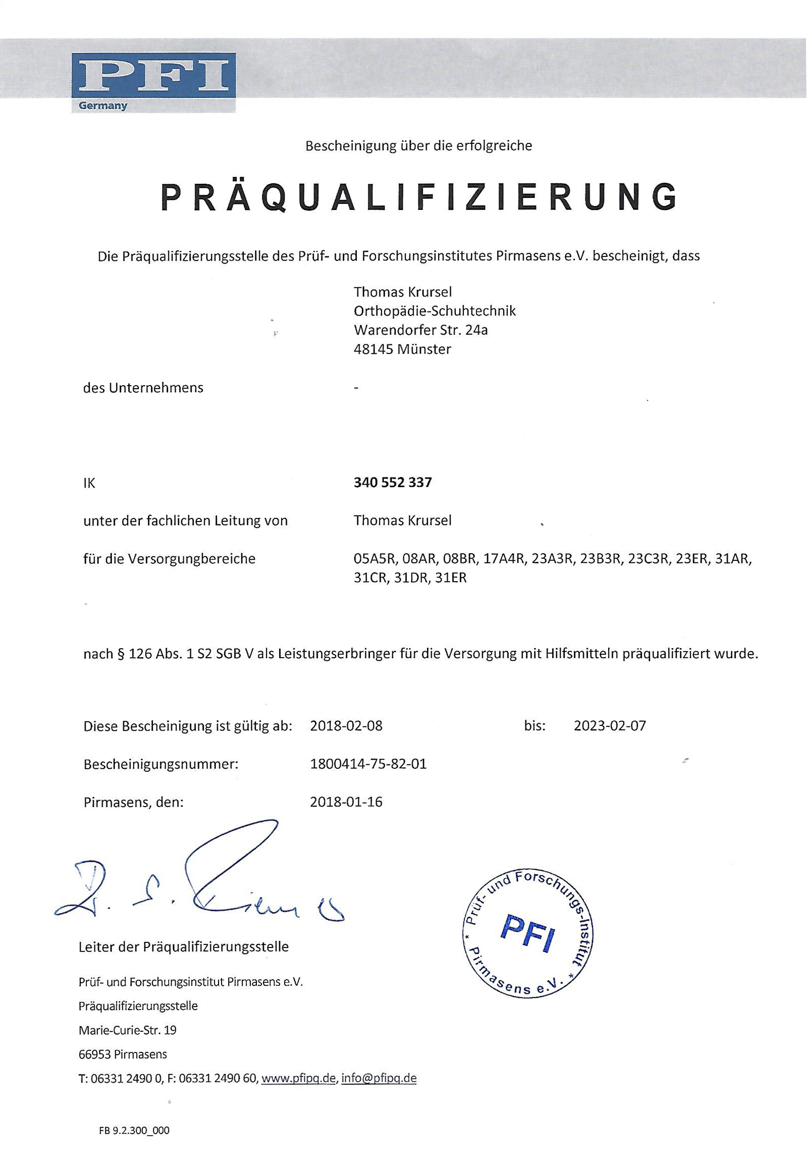 PFI Zertifikat Münster 2020