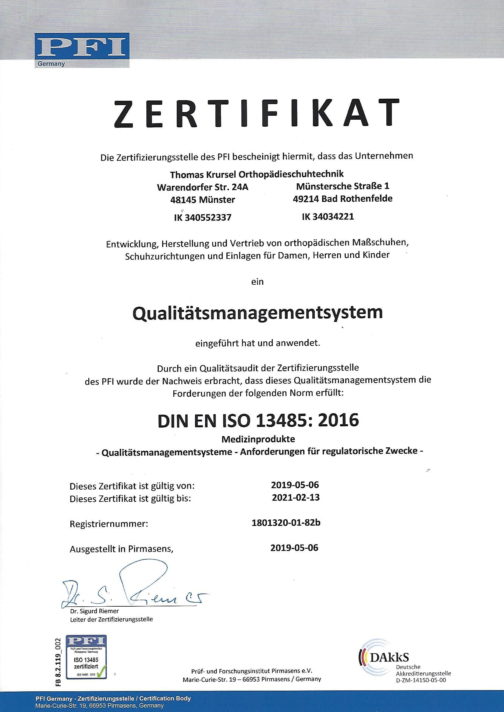 PFI Zertifikat Münster und Bad Rothenfelde 2020